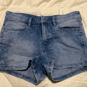 Washed Look Jean Shorts